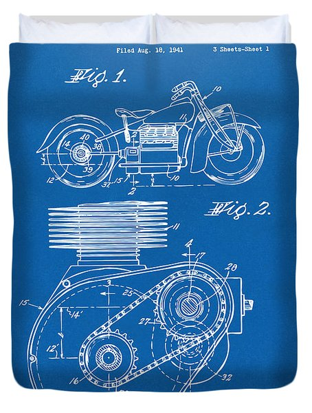 1941 Indian Motorcycle Patent Artwork - Blueprint Duvet Cover by Nikki Marie Smith
