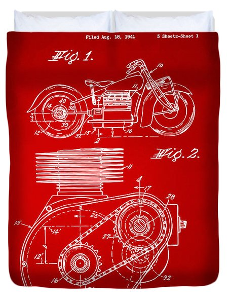 1941 Indian Motorcycle Patent Artwork - Red Duvet Cover