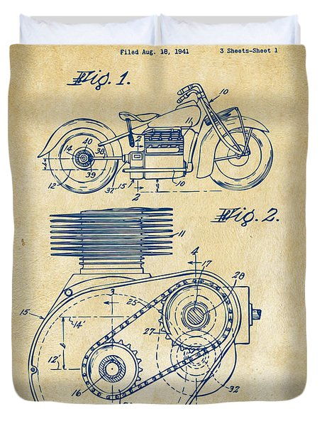 1941 Indian Motorcycle Patent Artwork - Vintage Duvet Cover