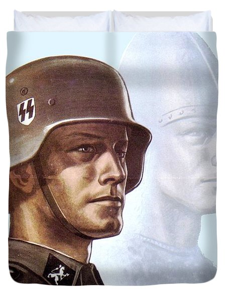 1943 - German Waffen Ss Recruitment Poster - Norway - Color Duvet Cover