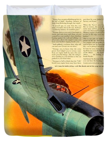 1943 - Nash Kelvinator Advertisement - Corsair - United States Navy - Color Duvet Cover