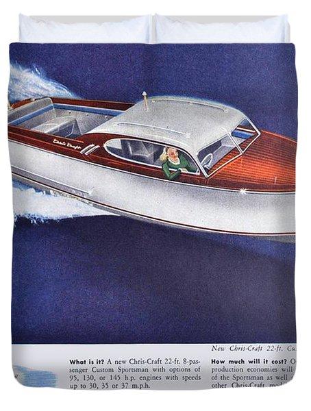 1945 - Chris Craft Power Boat Advertisement - Color Duvet Cover