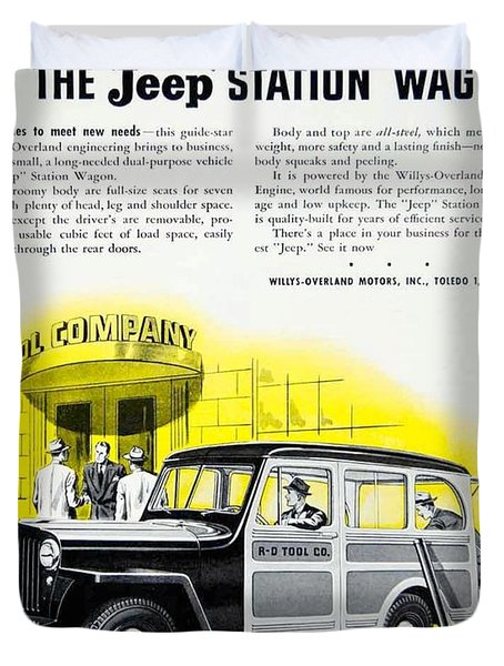 1946 - Willys Overland Jeep Station Wagon Advertisement - Color Duvet Cover
