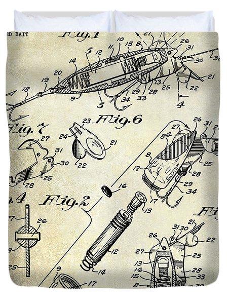 1940 Illuminated Bait Patent Drawing Duvet Cover by Jon Neidert