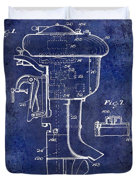 1947 Outboard Motor Patent Drawing Blue Duvet Cover by Jon Neidert