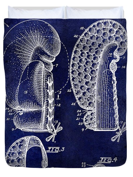 1948 Boxing Glove Patent Drawing Blue Duvet Cover