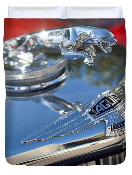 1948 Jaguar Mark Iv Drophead Coupe Hood Ornament Duvet Cover