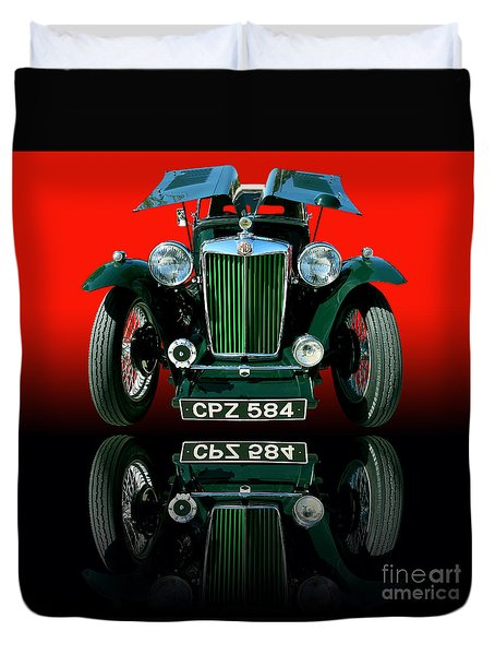 1948 Mg Tc Roadster Duvet Cover by Jim Carrell