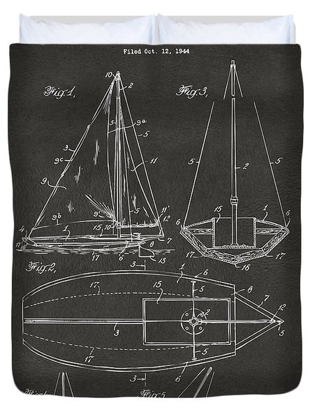 1948 Sailboat Patent Artwork - Gray Duvet Cover by Nikki Marie Smith