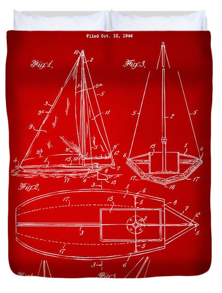 1948 Sailboat Patent Artwork - Red Duvet Cover by Nikki Marie Smith