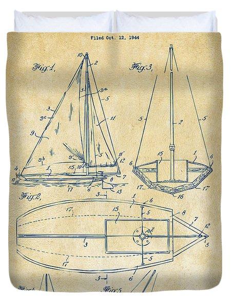 1948 Sailboat Patent Artwork - Vintage Duvet Cover by Nikki Marie Smith