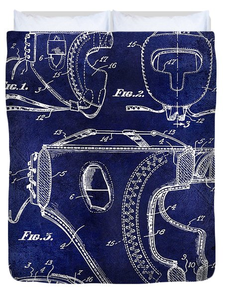 1949 Boxer Headgear Patent Drawing Blue Duvet Cover
