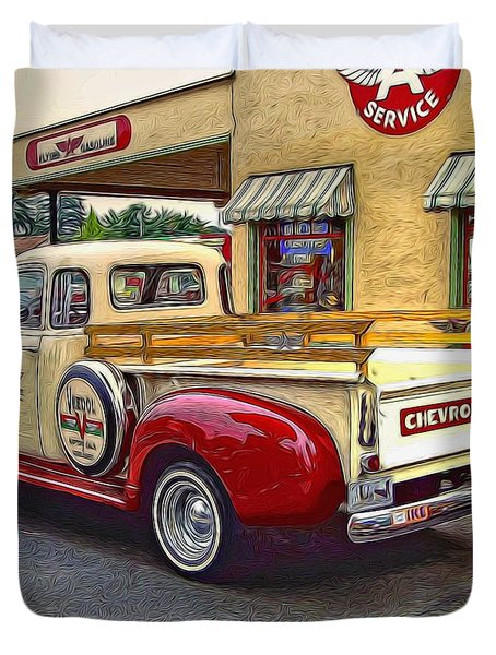 Duvet Cover featuring the photograph 1949 Chevy Truck by Thom Zehrfeld