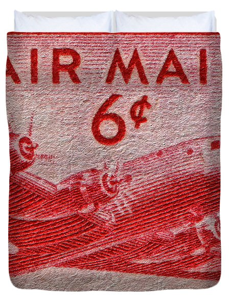 1949 Dc-4 Skymaster Air Mail Stamp Duvet Cover by Bill Owen
