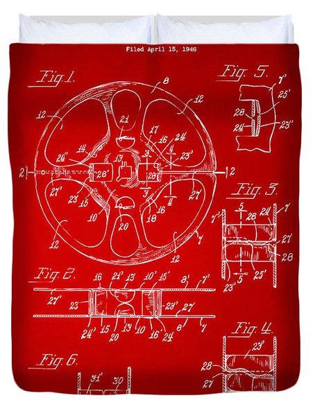 1949 Movie Film Reel Patent Artwork - Red Duvet Cover by Nikki Marie Smith