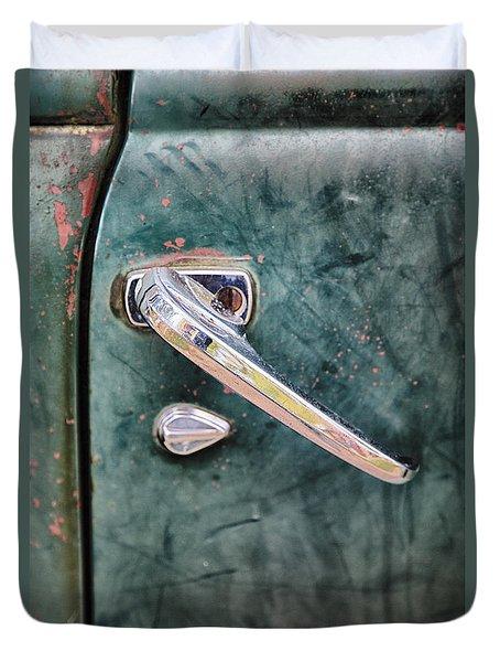 1950 Classic Chevy Pickup Door Handle Duvet Cover