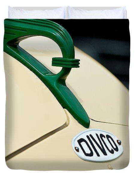 1950 Divco Milk Truck Hood Ornament Duvet Cover by Jill Reger