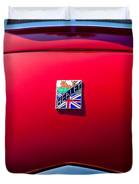 1950 Healey Silverston Sports Roadster Emblem Duvet Cover by Jill Reger
