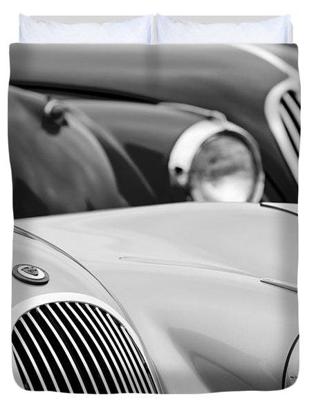 1950 Jaguar Xk120 Roadster Grille 2 Duvet Cover by Jill Reger