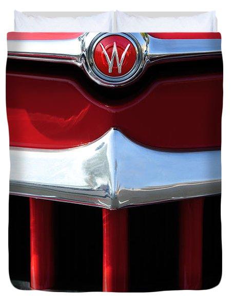1950 Willys Overland Jeepster Hood Emblem Duvet Cover