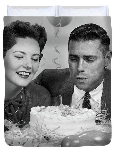 1950s 1960s Couple With Birthday Duvet Cover