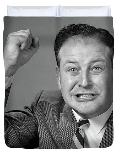1950s 1960s Portrait Of Angry Man Duvet Cover