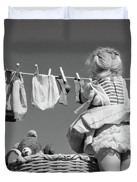 1950s Back View Of Girl Hanging Laundry Duvet Cover