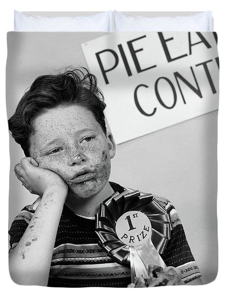 1950s Boy Wins 1st Prize At Pie-eating Duvet Cover