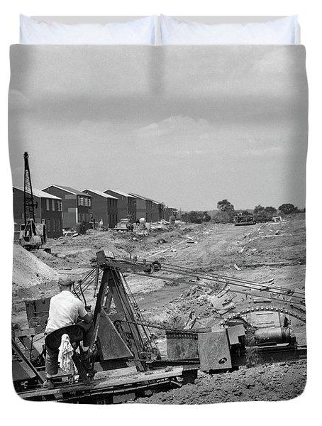 1950s Construction Mechanical Plumbing Duvet Cover