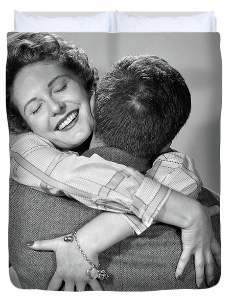 1950s Couple Happy Smiling Woman Facing Duvet Cover