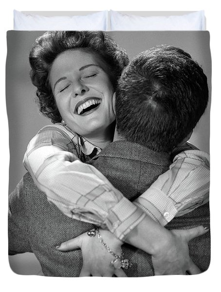 1950s Couple Man And Happy Woman Duvet Cover