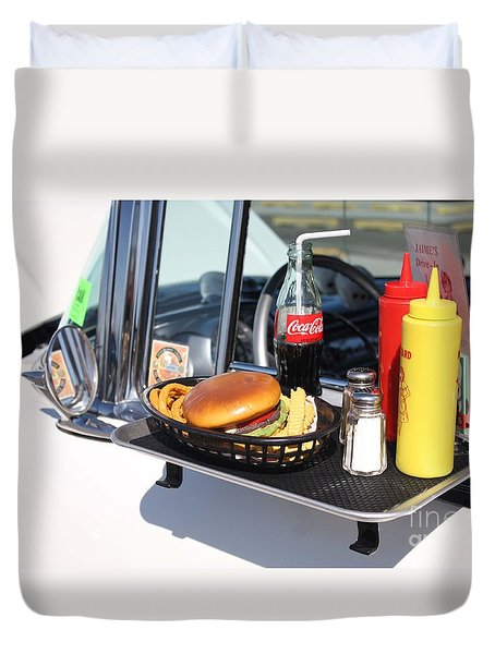 1950's Drive In Movie Snack Tray Duvet Cover