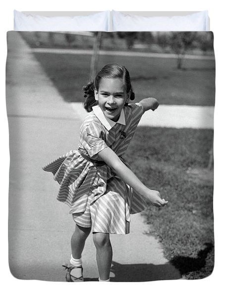 1950s Little Girl Roller-skating Duvet Cover