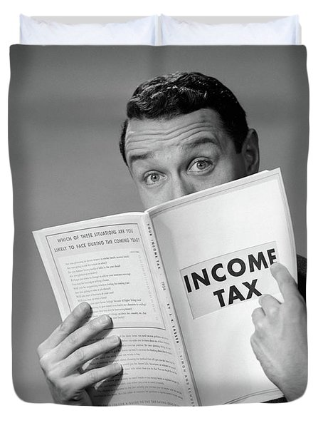 1950s Man In Suit Nose In Income Tax Duvet Cover