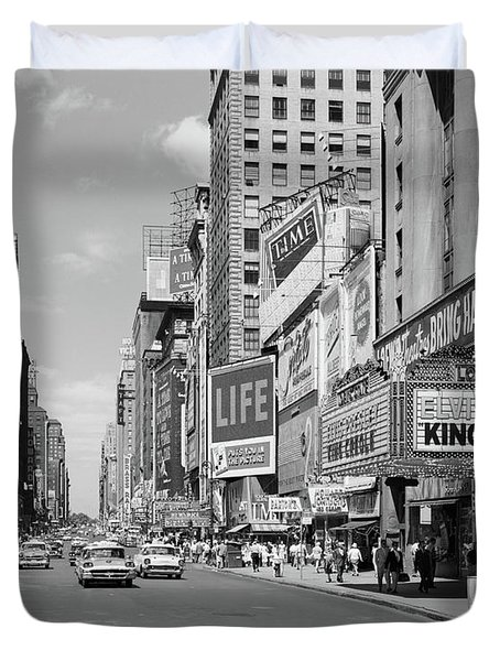 1950s Times Square View North Up 7th Duvet Cover