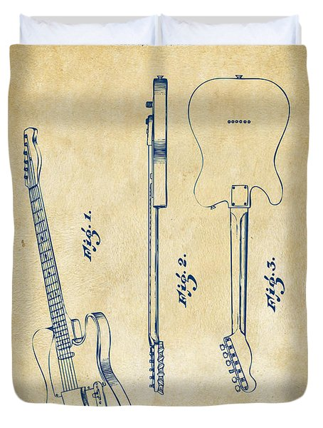 1951 Fender Electric Guitar Patent Artwork - Vintage Duvet Cover by Nikki Marie Smith
