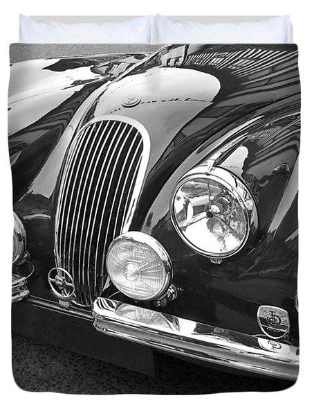 1951 Jaguar Xk120 In Black And White Duvet Cover