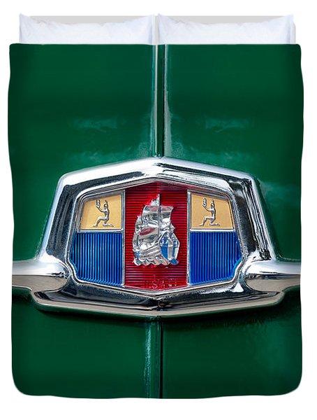 1951 Plymouth Suburban Emblem Duvet Cover