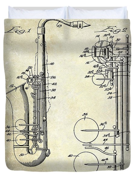 1951 Saxophone Patent Drawing Duvet Cover