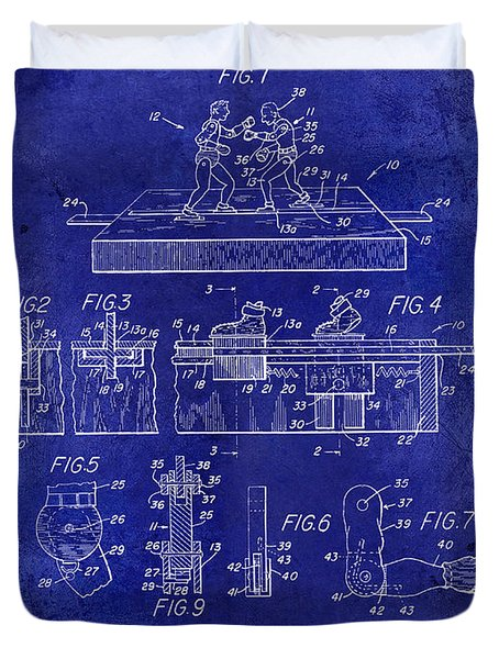 1952 Boxing Toy Patent Drawing Blue Duvet Cover