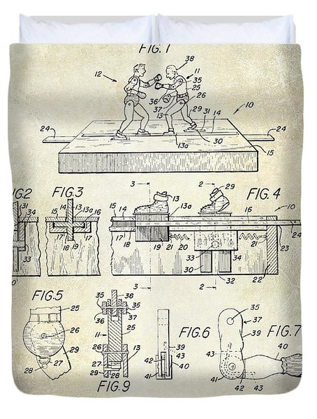 1952 Boxing Toy Patent Drawing Duvet Cover