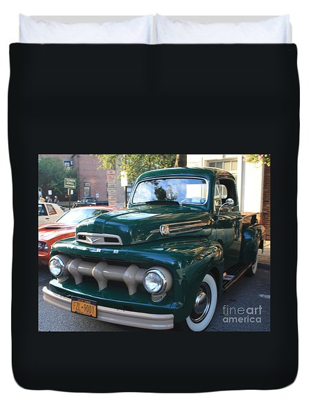 1952  Ford Pick Up Truck Front And Side View Duvet Cover by John Telfer