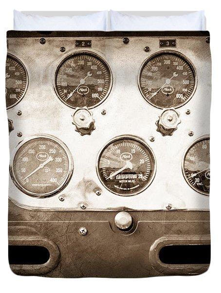 1952 L Model Mack Pumper Fire Truck Guages Duvet Cover