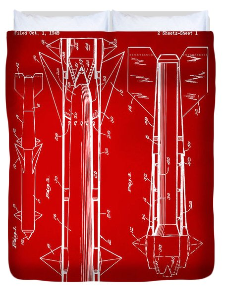 1953 Aerial Missile Patent Red Duvet Cover by Nikki Marie Smith