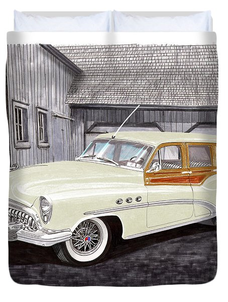 1953 Buick Estate Wagon Woody Duvet Cover