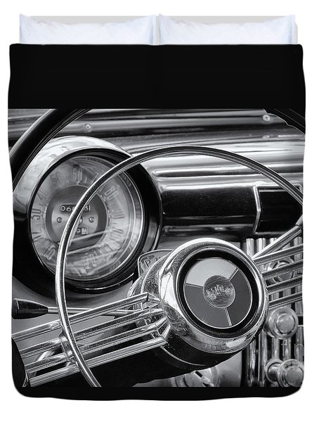 1953 Buick Super Dashboard And Steering Wheel Bw Duvet Cover by Jerry Fornarotto