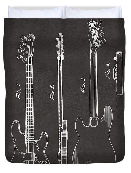 1953 Fender Bass Guitar Patent Artwork - Gray Duvet Cover