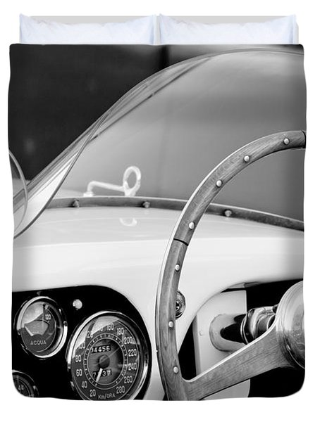 1953 Ferrari 340 Mm Lemans Spyder Steering Wheel Emblem Duvet Cover by Jill Reger
