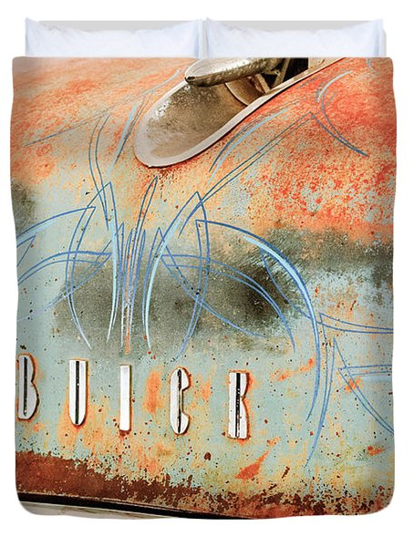 1954 Buick Special Hood Ornament Duvet Cover by Jill Reger