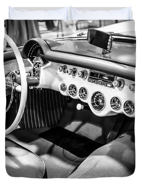 1954 Chevrolet Corvette Interior Black And White Picture Duvet Cover by Paul Velgos